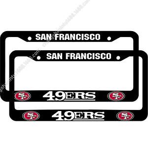 2PCS San Francisco 49ers Chrome License Plate Frame Universal Car Tag Cover