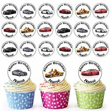 24 Personalised Pre-Cut Sports Cars Edible Cupcake Toppers Birthday Son Boys Men