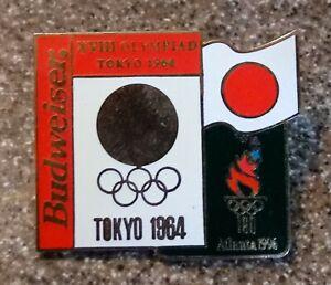 1996 Atlanta Budweiser Beer 1964 Tokyo Historic Olympic Pin Japan Flag