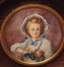 rare magnifique ancienne miniature encadrée peint fille au chat style XIII EME