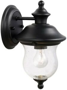 Outdoor Porch Light Fixture Sconce Wall Vintage Black Farmhouse Glass Metal New