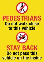 HGV/VAN/COACH Pedestrian Cyclist Warning Sticker 21x15cm Screen Printed Free P&P