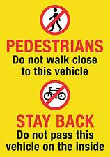 Hgv/van/coach Pedestrian Cyclist Warning Sticker 21x15cm Screen Printed