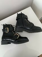 Black Biker Style Ankle Boots Size:3