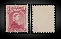 1894 NEWFOUNDLAND QUEEN VICTORIA 6C CARMINE -LAKE - MINT NO GUM SCT. 36 SG.60