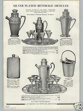 1936 PAPER AD Silver Cocktail Beverage Shaker Hammered Design Pocket Flask