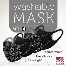 4 PC Paisley Mix Black Face Mask  Reusable Washable Protection Breathable Cover