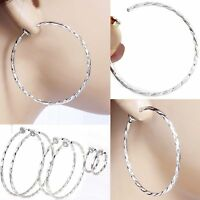 #E121D Pair CLIP ON Twist Hoop EARRINGS look like pierced Spring Closure Women