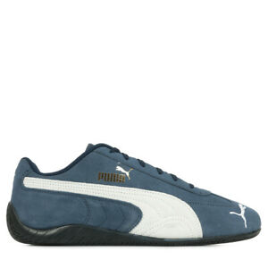 Chaussures Baskets Puma unisexe SpeedCat LS taille Bleu Bleue Cuir Lacets