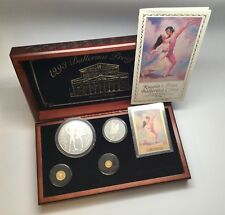 1993 Russia Ballerina Proof Gold & Silver Coin Set Display Box Booklet Gold Card
