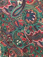 """Paisley Design Fabric Reds & Greens Quilting Sewing Crafts 39 x 41"""""""