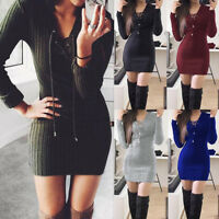 Womens Ladies Lace Up Knitted Bodycon Jumpers Dress Winter Bodycon Party Dress