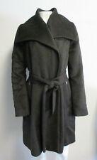 COLE HAAN brown alpaca-wool zip belted A-line midi-coat sz 12