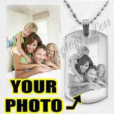Personalized Photo Dog Tag Custom Engraving  Your Picture Text Necklace Pendant