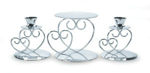 Victoria Lynn Silver Double Heart Unity Candle Set 3 Pieces   W5