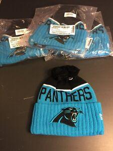 New Era CAROLINA PANTHERS NFL 2015 Sport Knit Sideline Beanie Stocking Pom Pom