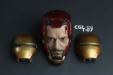1/6 figure CGLT-07 Iron man HEADPLAY MK7 Battle damage helmet head + 2pcs masks