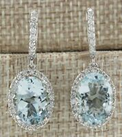 Fashion Aquamarine Gemstone Wedding Engagement 925 Silver Drop Dangle Earrings