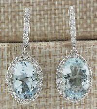 Fashion Aquamarine Gemstone Wedding Engagement 925 Silver Drop Dangle Earrings