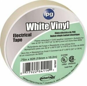 "3/4"" x 60' White Vinyl Electrical Tape 607WHT"