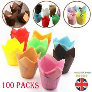100x Paper Cupcake Cases Muffin Cup Cake Case Box Coloured Party Supply Baking.