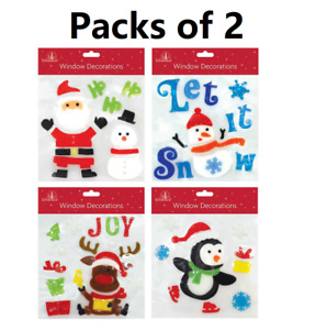 Pack of 2 Gel Assorted Designs Christmas Window/Glass Decorations Stickers Gift