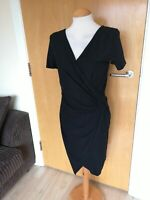 Ladies NEXT Dress Size 10 Black Stretch Ruched Smart Party Evening Wiggle