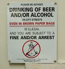 vintage beer porcelain sign advertising,new york beer warning humor funny sign