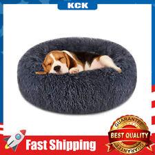 Pet Dog Cat Donut Comfortable Faux Fur Cuddler Round Ultra Soft Calming Warm