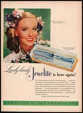 Vintage magazine ad JEWELITE hair brush from 1946 with Georgia Carroll pictured