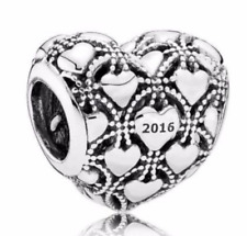 PANDORA Charm Sterling Silver Club Charm 2016 Heart Charm Bead 791912D Authentic