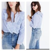 Madewell Women's Whitney Striped Blue and White Ruffle Button Down Top