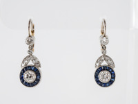 Antique Earrings Art Deco 3.65Ct Diamond Drop/Dangle 14K White Gold Finish