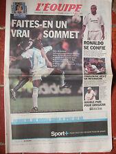 L'Equipe du 26/10/2002 - Avant PSG-OM - Ronaldo - Stade Toulousain - Grosjean