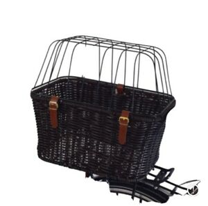 Pet Carrier Wicker Bike Basket Rear Mounted Shopping Travel Dog/Cat Basket Large