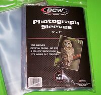100 5X7 PHOTO SLEEVES-CRYSTAL CLEAR-ARCHIVAL SAFE-ACID FREE-2 MIL THICK- BY BCW