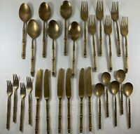 Lot 27 pieces Gold Tone Thailand Bamboo Brass Flatware Spoons Forks Knives