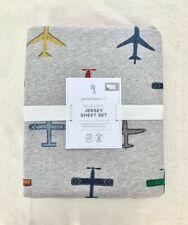 Pottery barn kids Jersey knit In Flight Sheet Set Twin Air Plane Grey Blue Soft