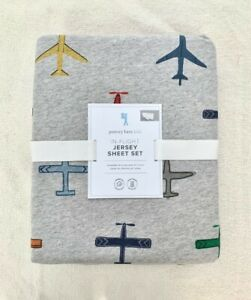 Pottery barn kids Jersey knit In Flight Sheet Set Twin Air Plane Grey Blue Soft