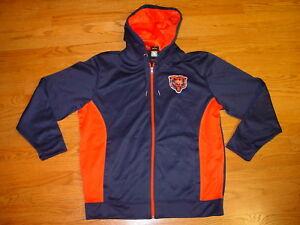 New Mens L Majestic Zip Up Blue Chicago Bears Hooded Sweatshirt Jacket Large
