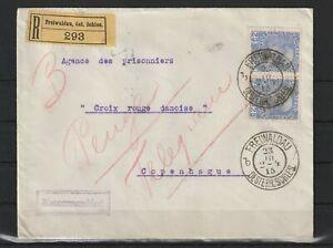 Österreich Reco R-Brief Freiwaldau öst. Schles. - Kopenhagen, 1915