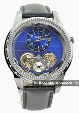 mens Elgin gunmetal automatic business watch blue dial leather Elgin box