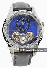 mens Elgin gunmetal automatic business watch blue dial leather Elgin box