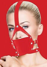 Red Faux Leather Head Harness Panel gag Restraint Mask Mouth Gag Muzzle Toy