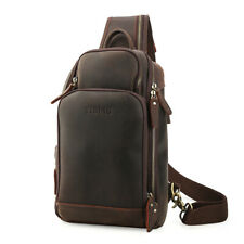 New Men's Leather Shoulder Sling Bag Sport Pouch Pack Chest Bag w/USB Interface