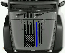 DISTRESSED AMERICAN FLAG THIN BLUE LINE HOOD DECAL JEEPS TRUCKS CUST SIZE AVAIL