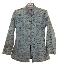 SHANGHAI TANG Women's Mandarin-Style Blue Denim Print Jacket Frog Closures Sz 8