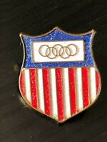 Vintage Collectible Olympic Crest Colorful Metal Pinback Lapel Pin Hat Pin