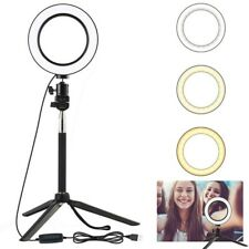 Selfie LED Ring Flash Fill Light Stand Tripod Dimmable Photo Studio Phone Live