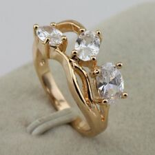 Size 5 6 9 10 Gallant Fashion Jewelry White CZ Yellow Gold Filled Ring rj1571